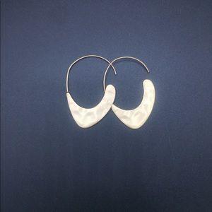 Hammered open hoop earrings
